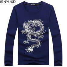 BINYUXD New Fashion Brand Dragon Printing Long Sleeve T Shirts for Men Novelty Tattoo Male O-Neck Hip Hop T Shirts Plus Size 5XL