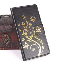 Brand HongBaiwei Gold Buttery Flower Printed Leather Case For Oukitel K10000 K 10000 Case Flip Cover Housing Stand Cellphone bag