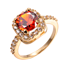 DROLE 2017 New Fashion Design Gold Color Big Zircon CZ Zirconia Stone Rings For Women Engagement Jewelry Gift(China)