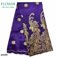 Nigerian George Lace Purple Embroidery Silk Lace Fabric For African Dresses Gold Beaded Stones George India Sequins For Wedding