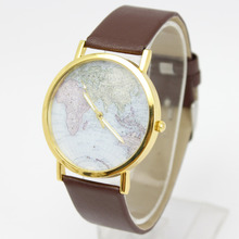 100pcs/lot,Promotion New hot styles leather watches with world map watches,wholesale Unisex alloy fashion wristwatch 4 colors