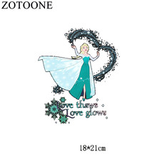 ZOTOONE Cartoon Patches Princess Iron On Transfers For T shirt Clothes Stickers Heat Transfer Paper Badge Embroidery Applique(China)