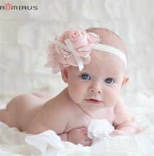 ROMIRUS Modern 2017 Baby Girl Hair Accessories Headband Big Chiffon Flower Pearl Bowknot Toddle Infant Newborn Hair Bands bb E49