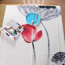 Classical style lotus Tablecloths Cotton Linen Table Cloth/ Tea Tablecloth wholesale Art Dining Table Cover/Decorative Cover(China)