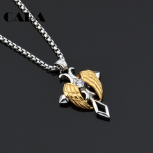 CARA New 2tone stainless steel angel wings cross pendant necklace Big rhinestone cross necklace jewelry for men & women CAGF0455