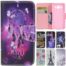 Luxury Cute Cartoon Dream Butterfly Net Tower Leather Flip Fundas Case For Samsung Galaxy J3 J5 2016 J310 J510 J310F J510F Cover