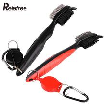 Golf Groove Cleaning Brush Double-Side With Keychain For Golf Ball Putter Wedge Club Cue Cleaner Equipment Portable Tool