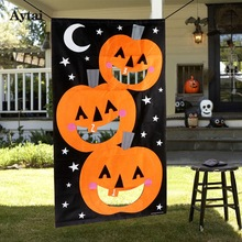 Aytai 1pc Halloween Party Decoration Hanging Toss Game Pumpkin Bag for Throwing With 3 Bean Bags Party Supplies 30X54 inch(China)