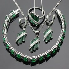 Wedding Silver Color Jewelry Sets For Women Green Created Emerald Necklace Pendant Bracelets Earrings Rings Free Gift Box