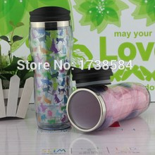 double wall acrylic plastic mug with lid,clear water bottle insulated tumber paper inserted,wholesale outdoor car cup
