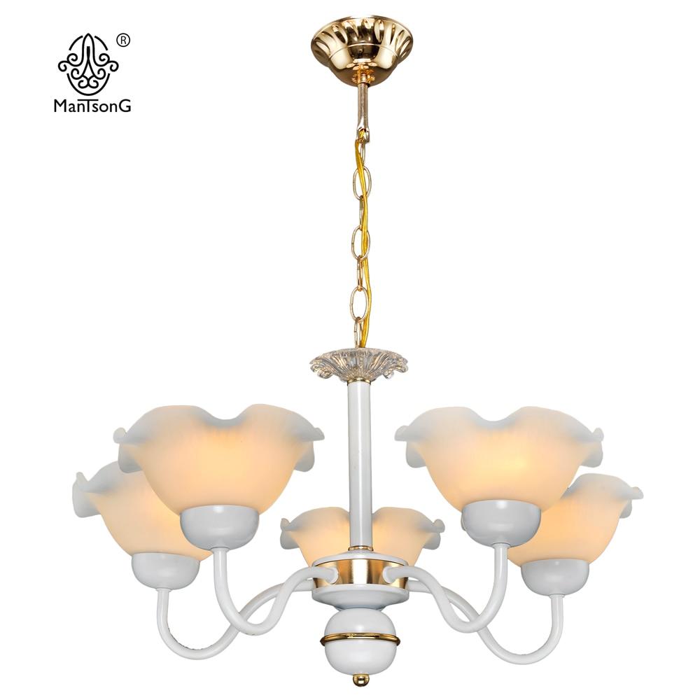 White Classical Light Bedroom Lamp 5 Glass Shade Light Home Lighting Modern Pendant Living Room Lights <br>