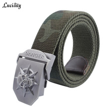Buy Lucidity Men Canvas Belt Thickening Casual All-Match Male Automatic Buckle Belt Skull Pattern Individuality Man Belts for $8.44 in AliExpress store