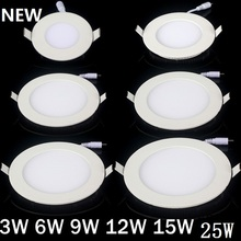 20pcs/lot Dimmable Ultra thin 3W/4W/6W / 9W / 12W / 15W/ 25W LED Ceiling Recessed Grid Downlight / Slim Round/Square Panel Light