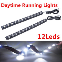1 Pair Universal Car Flexible Turn Signal Light 12 LED Daytime Running Light Auto LED Lamp Strip DRL Car Styling Parking