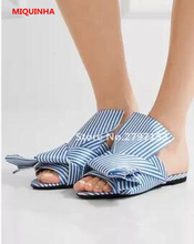 Hot Sale! Fashion Designer Blue and White Striped Cloth Big Bow Ladies Slippers Stain Mules Slide Flats Peep Toe Madam Slippers