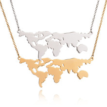 New Design Famous 316L Stainless Steel World Map Necklace Earth Day Gift Globe Statement Necklace For  Women Gift