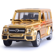 1:32 scale diecast car SUV Electroplating metal Dubai Golden Benz AMG G65 motel pull back alloy toys light & sound Collection