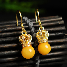 Original 925 silver inlaid natural yellow honey wax beads earrings goddess queen amber jewelry earrings crown earrings(China)