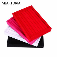 MJARTORIA Velvet Suede Ring Earrings Organizer Ear Studs Jewelry Display Stand Holder Rack Showcase Plate Jewelry Box