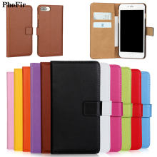PhoFir Genuine Leather Flip wallet cover Case For iphone X 7 6 6S 8 Plus Real Purse Phone Shell with card Slot Brown Black