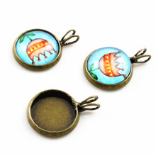 20pcs 12mm Inner Size Bronze Plated Brass Material Simple Style Cabochon Base Cameo Setting Charms Pendant Tray (A1-17)
