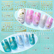 1 Lot = 12 Sheets Christmas 3D Nail Art Gold Silver Sticker Decal X'mas Stickers DIY Tool Snowflake Tree Snowman TY103-114(China)