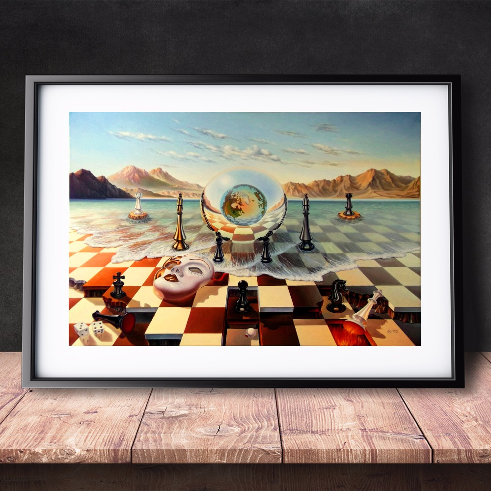 Surreal-City-Chess-Beach-Set-Canvas-Art-Print-Painting-Poster-Wall-Pictures-For-Living-Room-Home (1)
