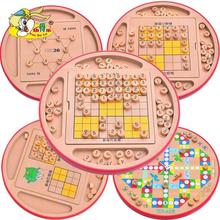 Child multifunctional toys sudoku chess squared wood chess game adult puzzle table