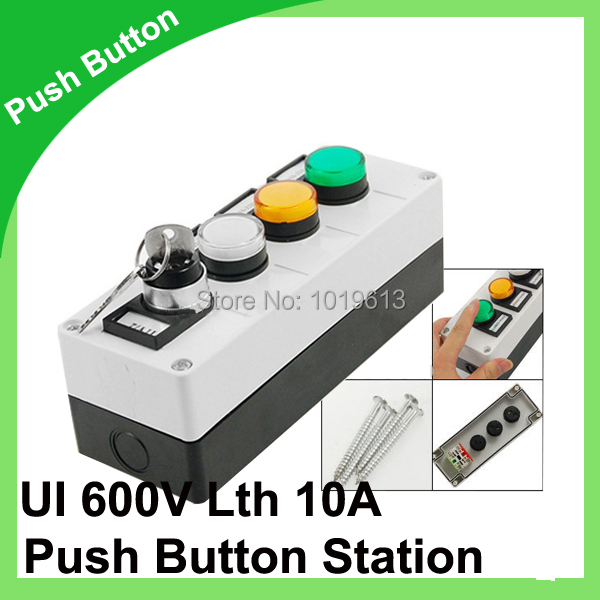 12V White Orange Green LED Lamp 1NO 1NC Keylock Rotary Switch Push Button Station<br><br>Aliexpress