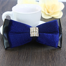 Free Shipping New fashion casual Men's double diamond butterfly tie high-grade velvet air wedding groom British bow tie dinner