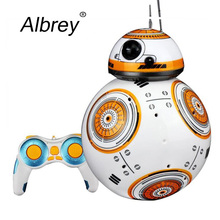 Drop Shipping 17cm Star Wars RC 2.4G BB-8 Robot Upgrade Remote Control BB8 Robot Intelligent With Sound RC Ball Kid Gift Boy Toy(China)