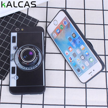 KALCAS Korean 3D Retro Camera Pop Phone Cases For iphone 7 6 6S Plus Case Luxury Electroplating Soft Cover Stand Holder