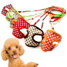 Cute Dot Puppy Chest Clothes & Leash Set Dogs Harness Collar Leads Breathable Mesh Colera Para Cachorro Pet Products Supplies