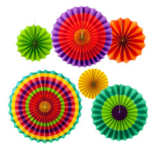 6 Pcs/set Stripe Dot Paper Fans Round Wheel Disc Birthday Kids Party Wall Decoration Event Kindergarten Celebration Home Decor