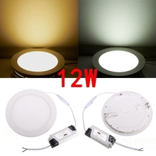 DHL free shipping 20pcs 12W Ultra Thin LED Panel Light Recessed LED Ceiling Downlight AC85-265V Indoor LED Lighting