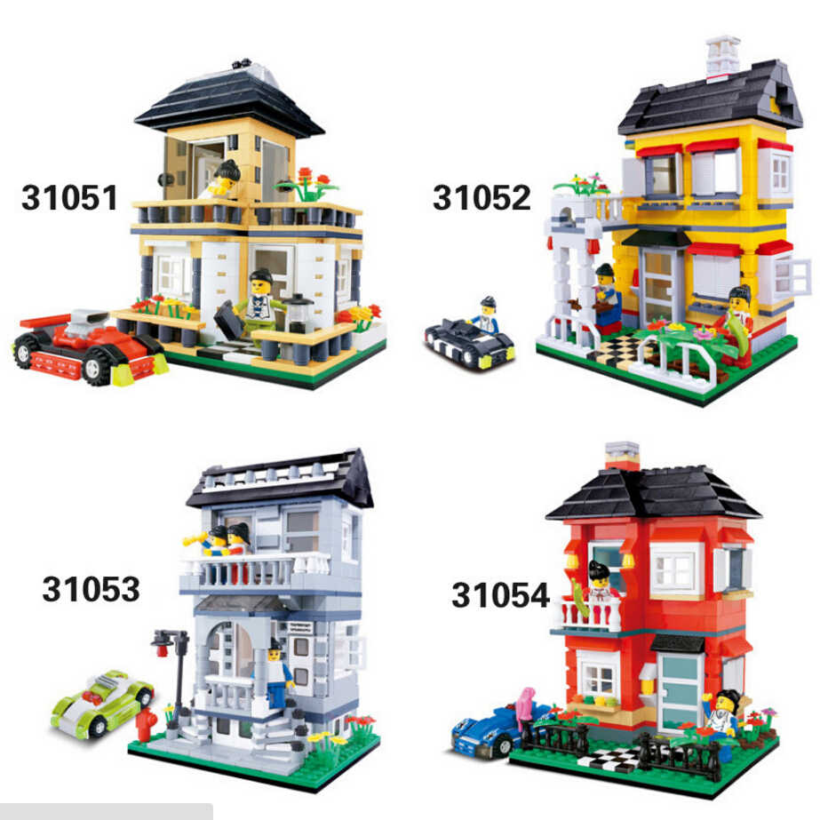 Street view fashion house Double deck luxury villa sport car building block lover Family bricks compatible legoeinglys.city<br><br>Aliexpress
