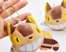 10Pcs/Lot My Neighbor Totoro Ghibli Plush Cat Bus Strap CellPhone MP3 Chain Keychain Free Shipping(China)