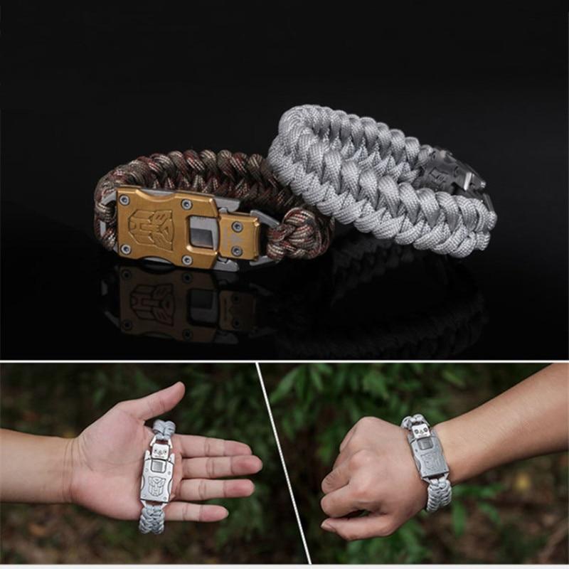 EDC outdoor survival Paracord Multitool Defensive Baton Camp Equipment Bracelet With Folding knife Multi functional self-defense bracelet survival tool (10)_