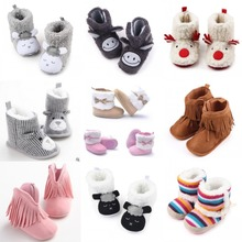 Kids Boots Baby Girls Shoes Winter Warm Booties For Newborn Infant Bebe Prewalkers Toddler Baby Cartoon Booty Baby Ankle Booty(China)