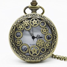 Vintage Bronze Hollow Gear Quarzt Pocket Watch Steampunk Pendant Necklace Gifts Watch