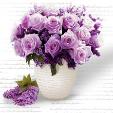 5D Diamond Embroidery Diamond Mosaic Purple Flower Diy Diamond Painting Needlework Beautiful Flores Canvas Home Decoration(China)