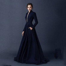 robe de soiree longue New Elegant Simple Style Dark Navy Satin A Line V Neck Long Sleeve Embroidery Floor Length Evening Dresses
