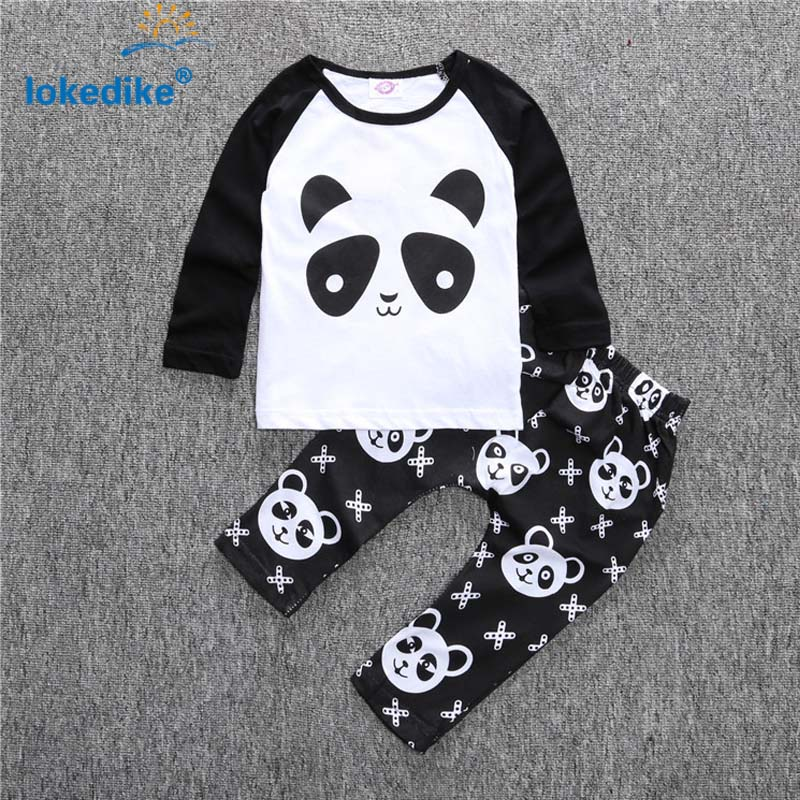 Baby Clothes Toddler Boys Clothing Set  Autumn 2017 New Style Fashion Panda  Childrens Clothes 2pcs T-shirt Pants T2517<br><br>Aliexpress