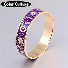 1.6cm Width Purple Pattern Design Bangle Brand Women Gold Stainless Steel Enamel Bracelet Bangle(China)