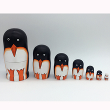 5 Pieces/Lot Kawaii Wooden Handmade Penguin Russian Matryoshka Nesting Dolls Home Decoration Best Birthday Gift Kid Toys