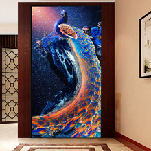 5D diy diamond painting cross stitch diamond embroidery diamond mosaic Blue peacock picture Home Decoration needlework gift(China)