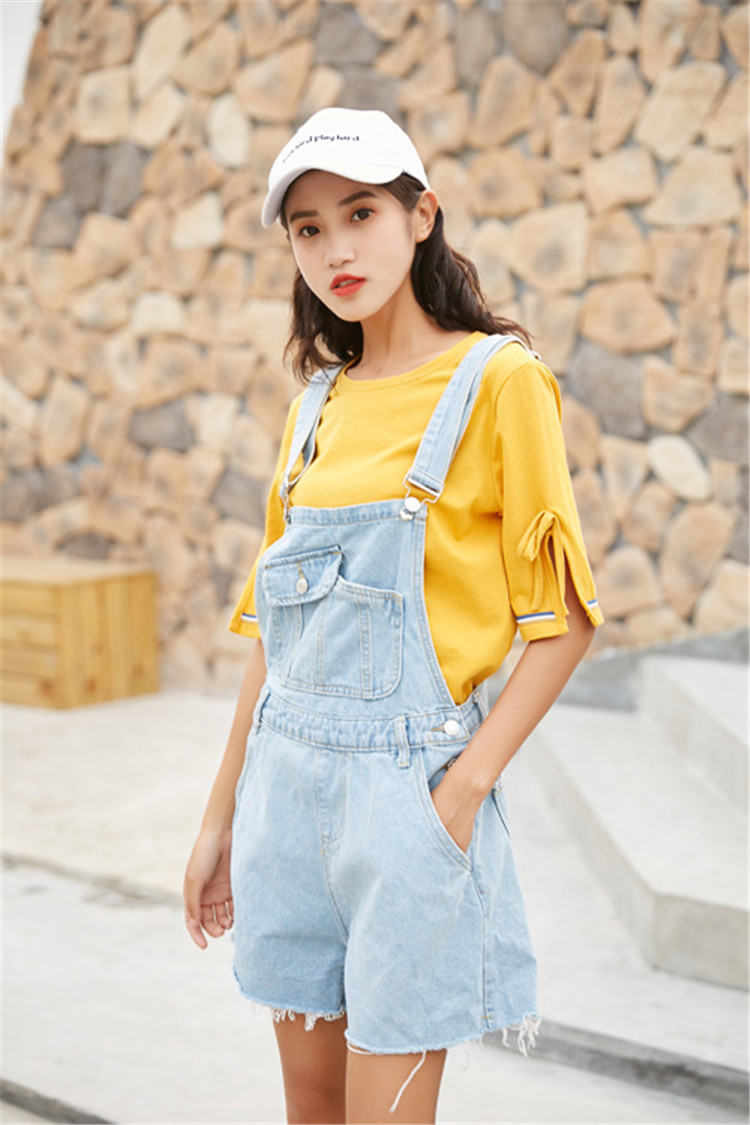 Summer new college style sweet diagonal personalized pockets skirts pants denim shorts female (2)