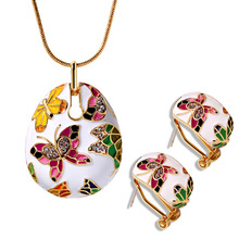 Europe Vintage Enamel Necklace Earrings Jewelry Sets Fashion Butterfly Design Dangle Earrings Jewelry Bridal Wedding Sets(China)