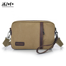 Black Coffee Khaki Summer Fashion Manjianghong Canvas Small Travel Shoulder Bag Men Messenger Bags Canvas Day Clutch Bag 1369(China)