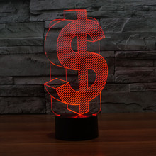 Novelty Lighting 7 Color Change 3D Table Lamp LED Gadget Lighting Decorative Night Light USB Plug Power Bank Best Christmas Gift